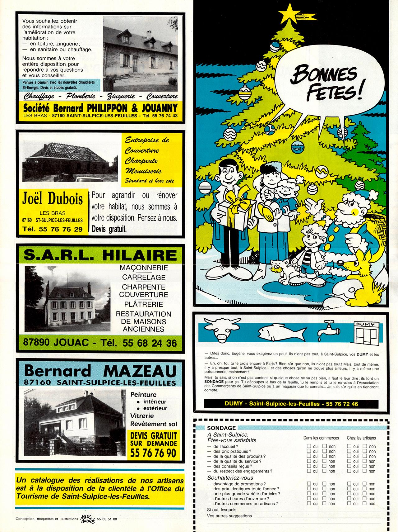 Gazette de Saint-Sulpice-Les-Feuilles-1989-95 numéro 2 Noel 1989