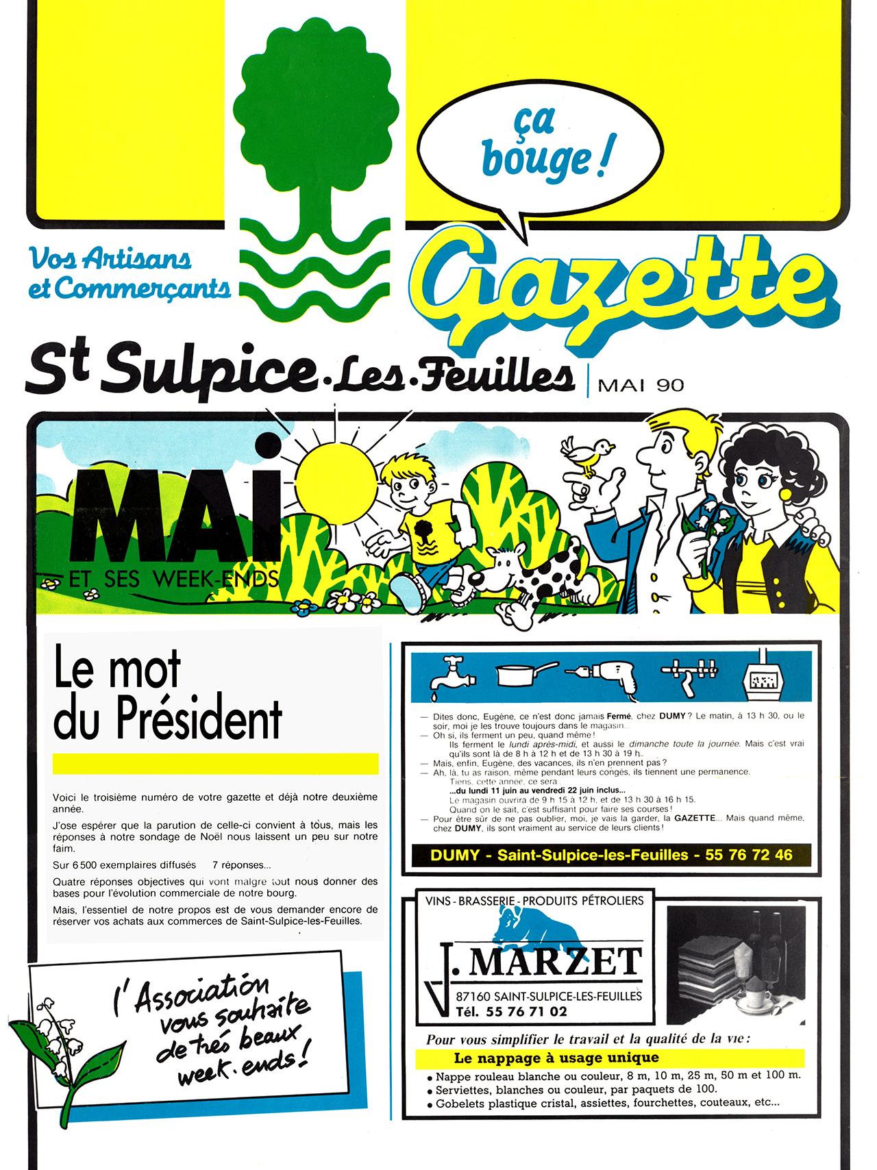 Gazette de Saint-Sulpice-Les-Feuilles-1989-95 numéro 3 Mai 1990