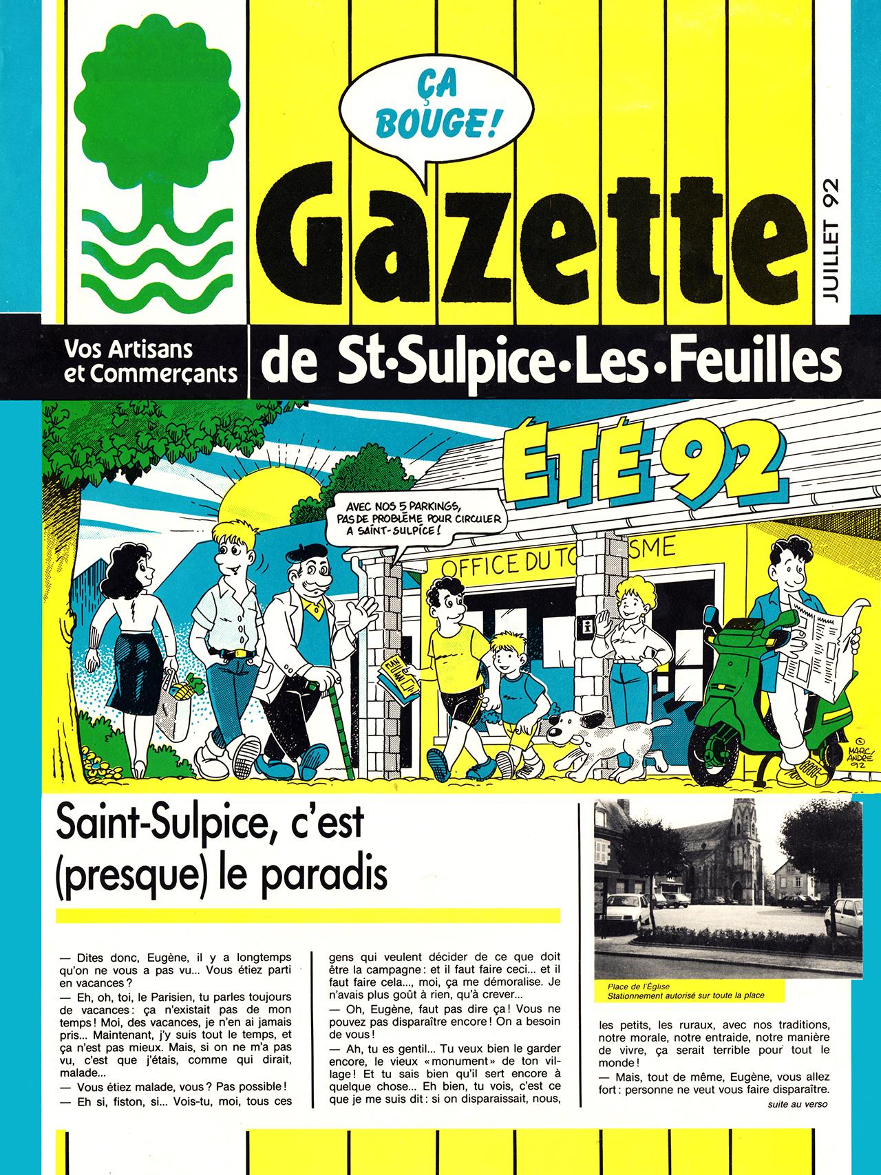 Gazette de Saint-Sulpice-Les-Feuilles-1989-95 numéro 6 été 1992 page 1