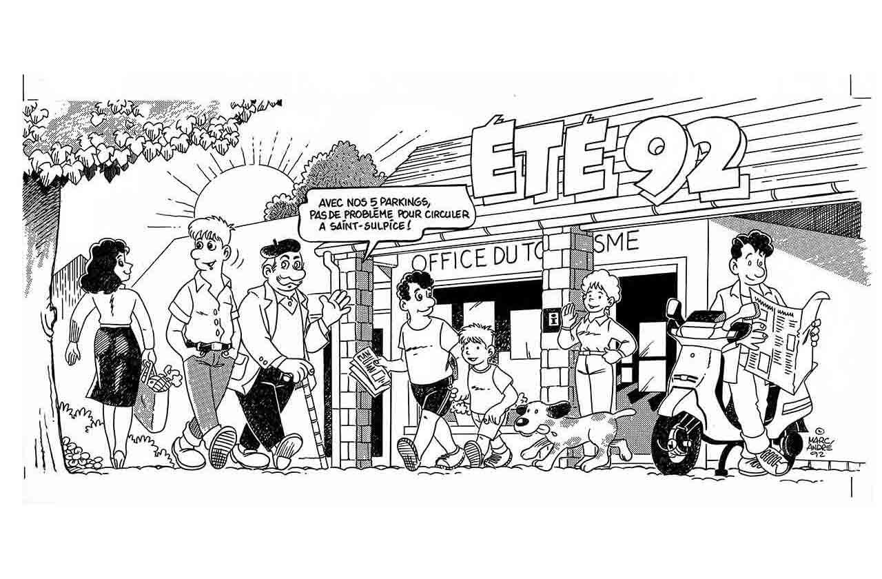 Illustration pour La Gazette de Saint-Sulpice-les-Feuilles été 1992 noir et blanc parking stationnement scooter