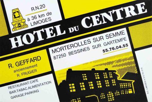 Carte Hôtel du centre à Morterolles-sur-Semme 1988 Logis de France