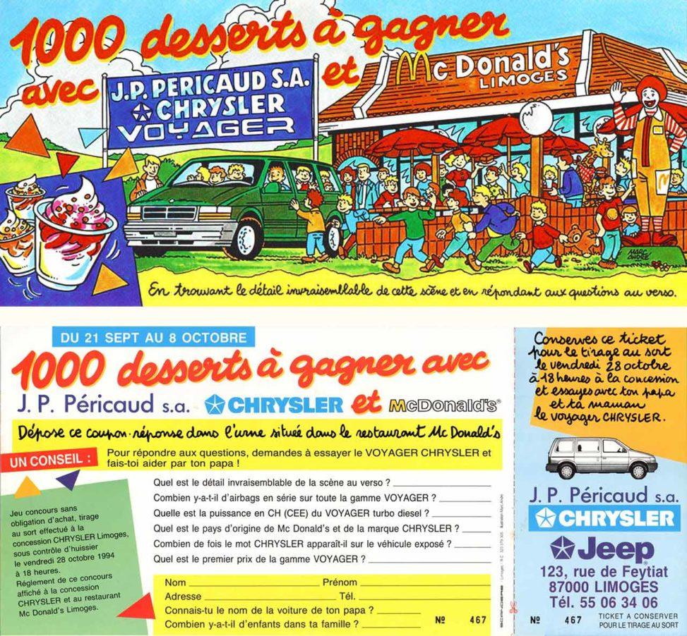 Carte jeu de Pericaud Automobiles Chrysler et McDonalds-Agence Scandere Limoges 1994