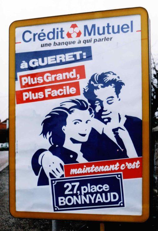 affiche Crédit Mutuel Gueret agence Scandere 1988
