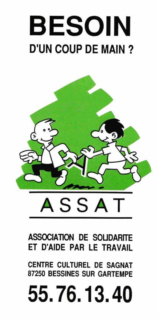 Dépliant et logo pour l'association ASSAT (Association de Solidarité et d'Aide par le Travail) de Bessines-sur-Gartempe
