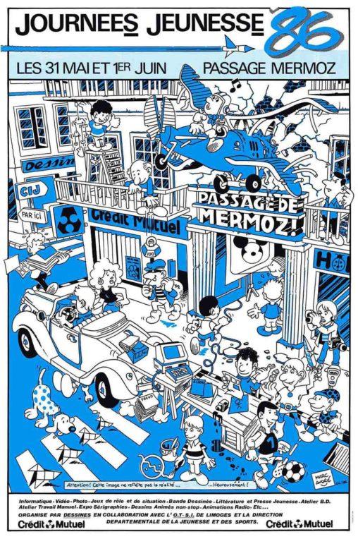 Affiche Journées-Jeunesse 86 Passage Mermoz Limoges Dessines Hobby & Loisirs CIJ Marc-André