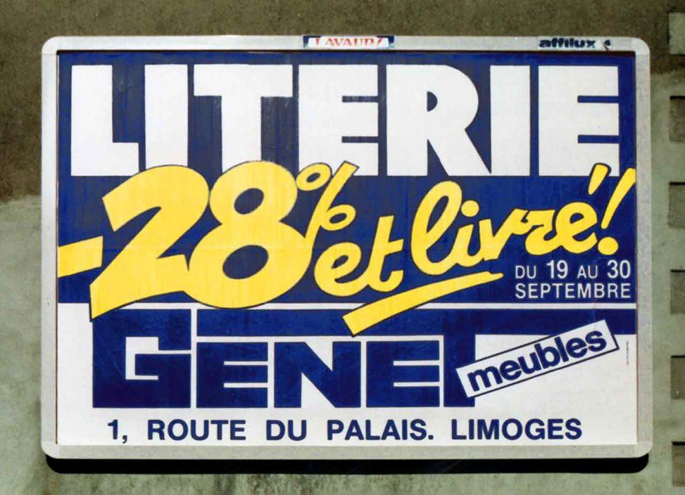 1989-09_Affiche-4x3-28pourcentet livré-Meubles-Genet-Agence-Scandere Marc-André