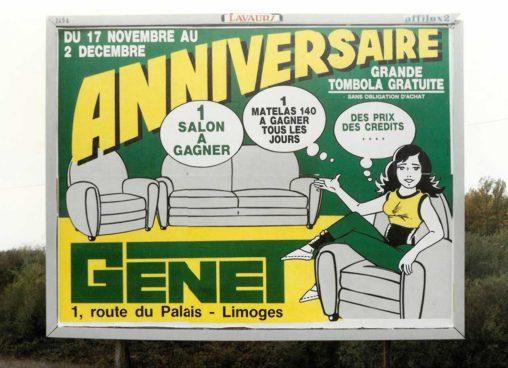 1989-11-Affiche-4x3-Anniversaire-Meubles-Genet-Agence-Scandere Marc-André