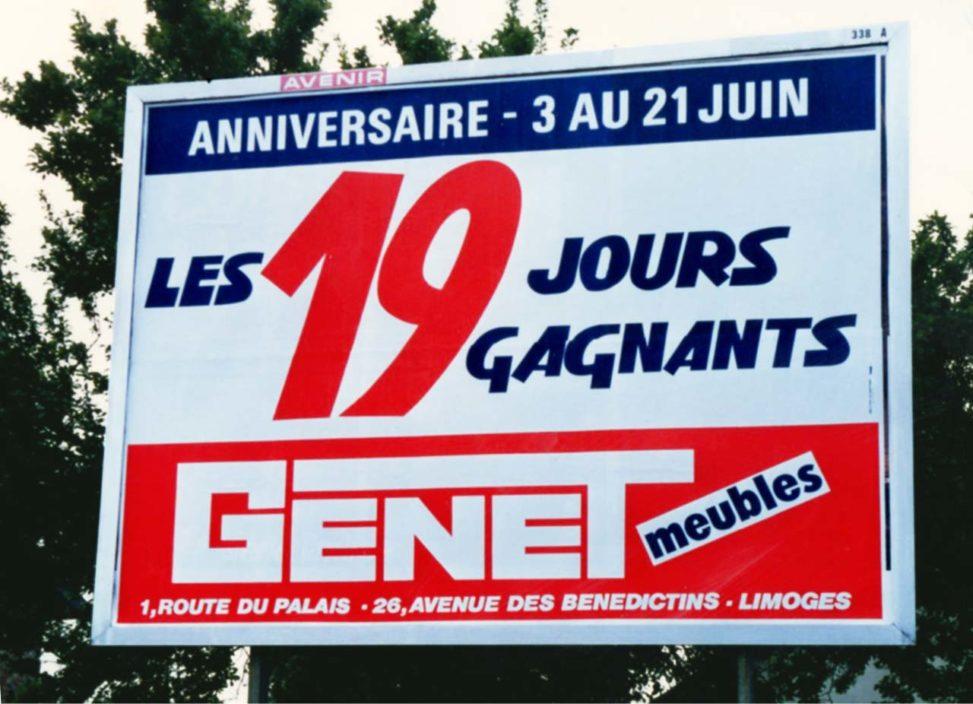 1990-Affiche-4x3-Anniversaire-les-19-jours-gagnants-Meubles-Genet-Agence-Scandere Marc-André