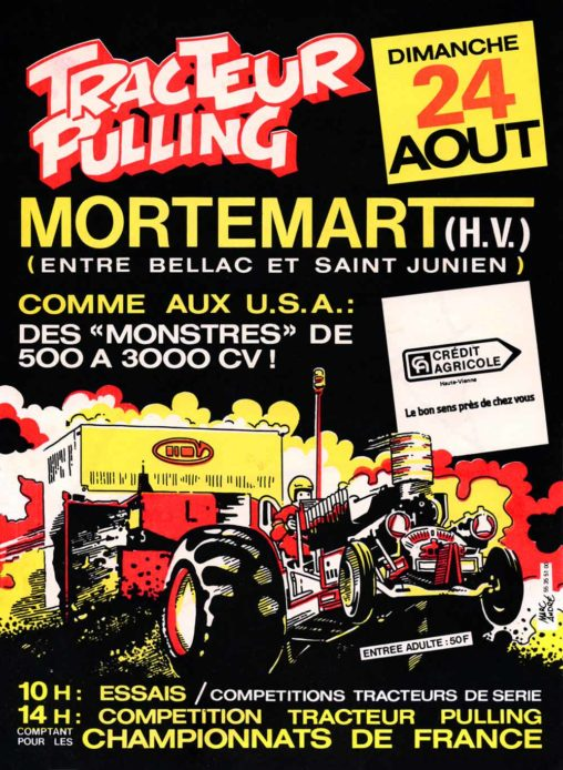 Tracteur Pulling Mortemart flyer et affiche 1986 Marc-André