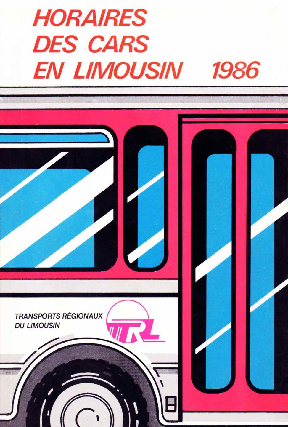 Horaires des cars en Limousin Conseil Régional Agence Scandere 1986 Marc-André