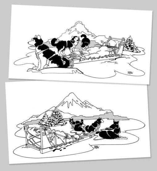 Illustrations expédition polaire Chamonix Isef 1988 Sérigraphie Marc-André