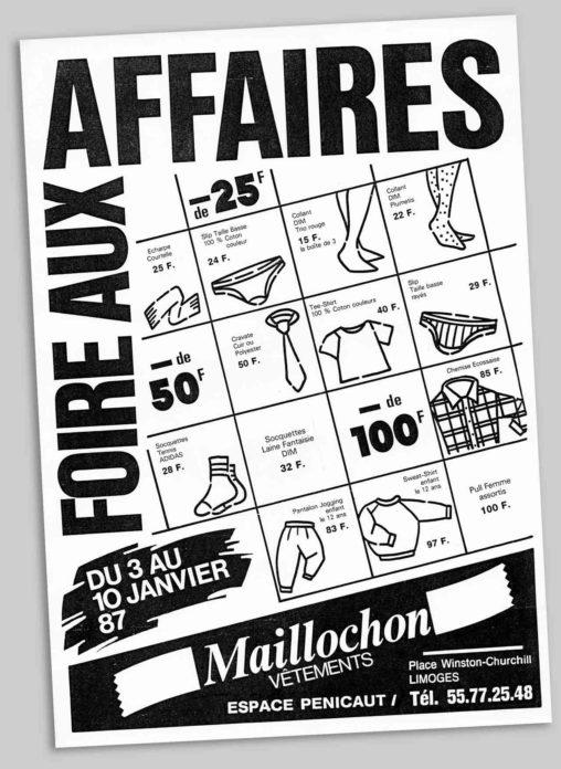 Flyer Foire aux affaires vêtements maillochon Limoges 1987 Marc-André