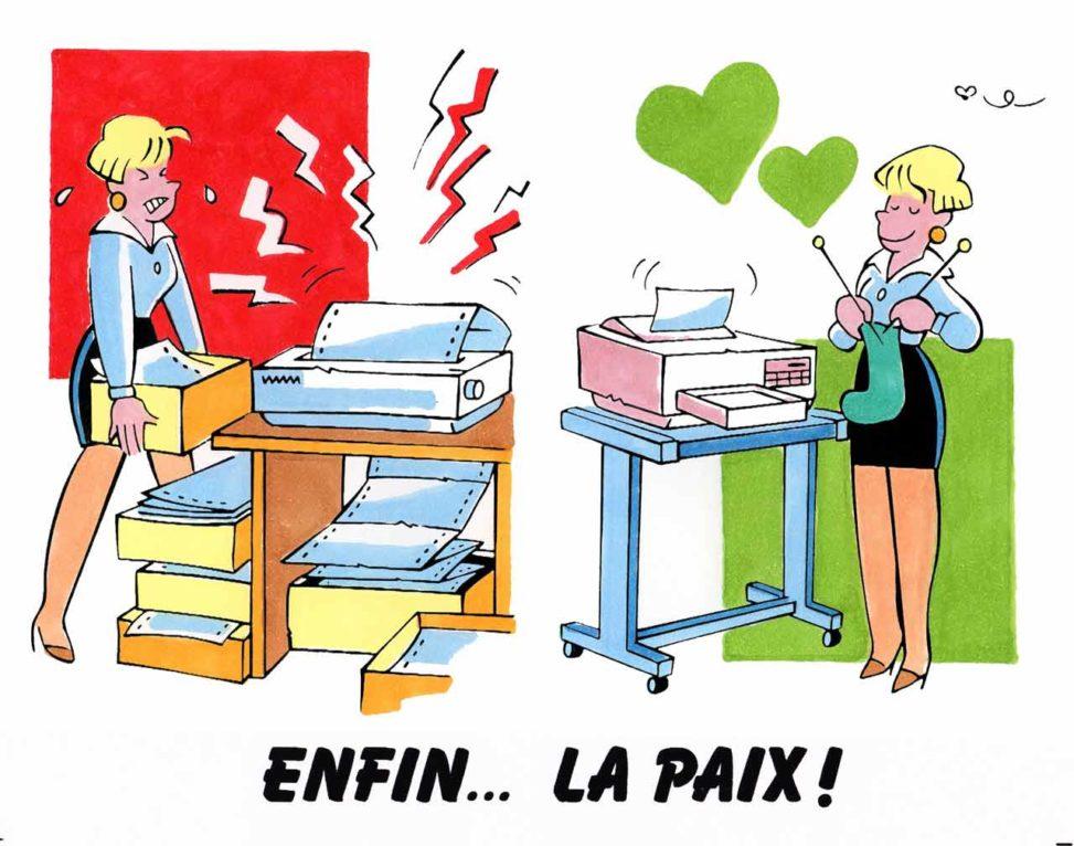 Illustration imprimantes flyer CERIG 1993 Marc-André BD Illustration Graphisme Limoges