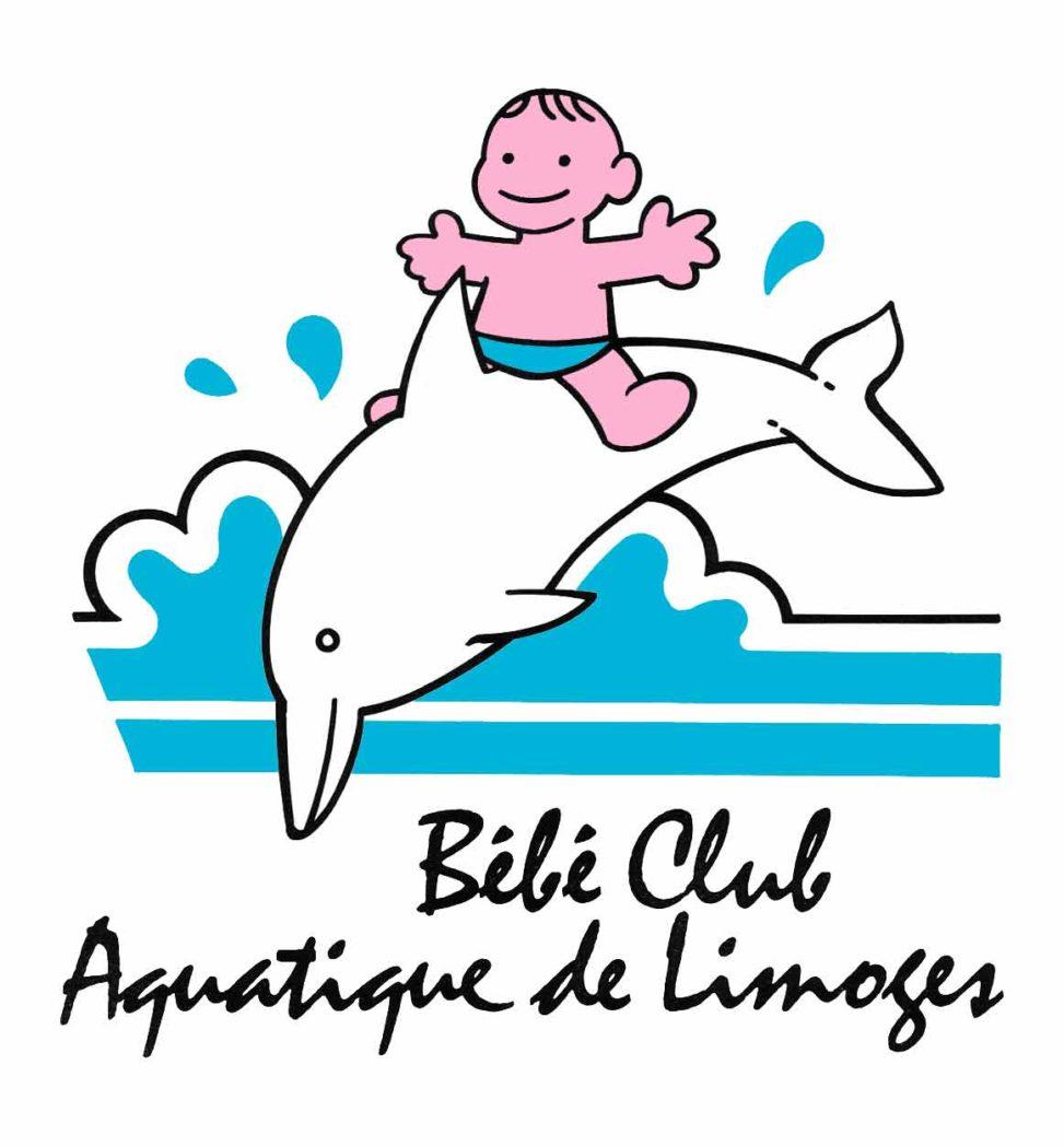 Logotype couleur pour le Bébé Club Aquatique de Limoges-1989 - Marc-André BD Illustration Graphisme Limoges