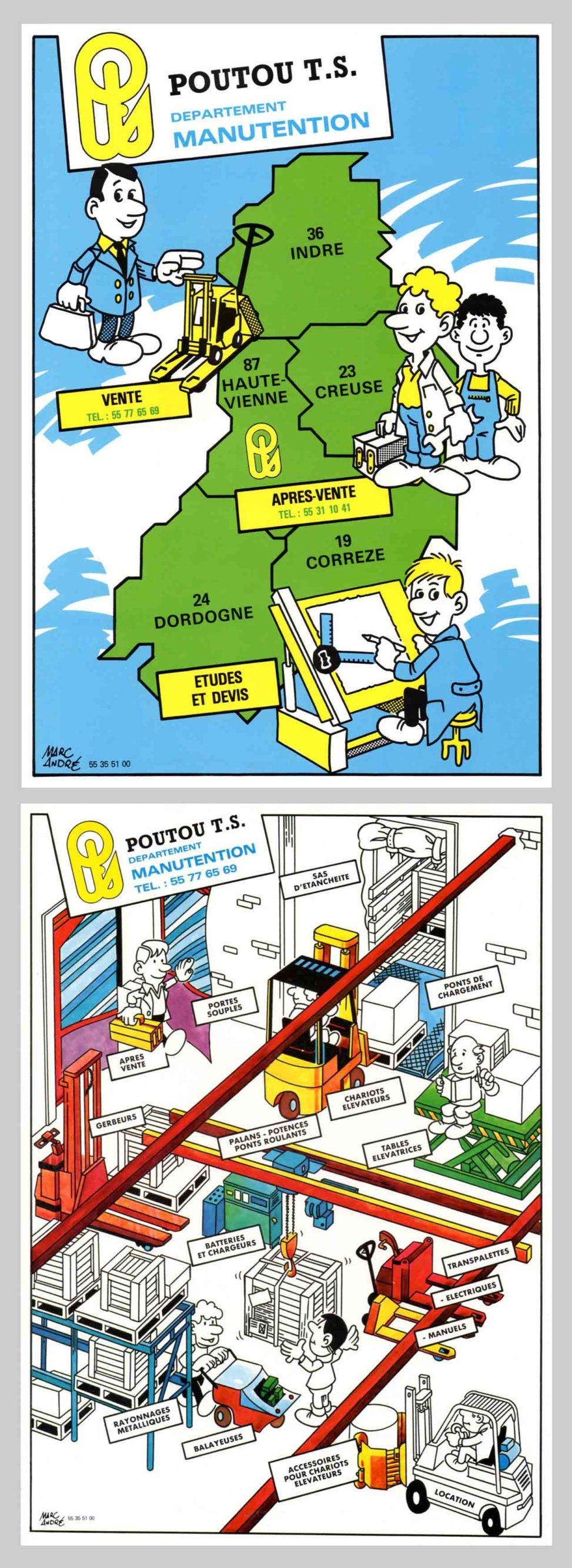 Poutou Transmission Service Illustrations pour classeurs Marc-André BD Illustration Graphisme Limoges 1986-87
