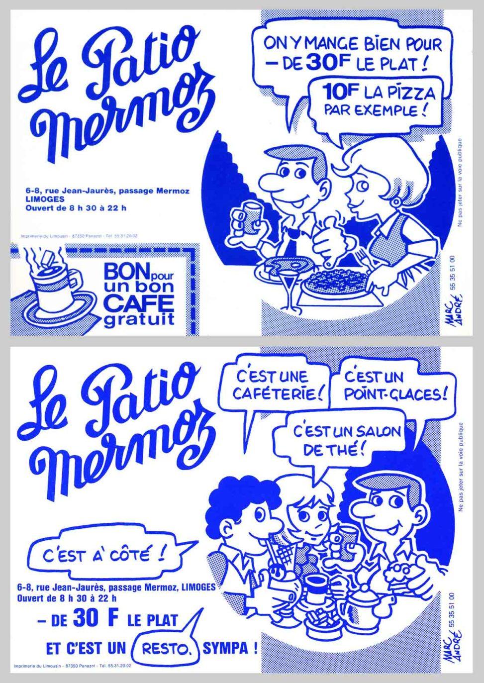Le Patio Mermoz restaurant Tracts publicitaires et annonces presse Marc-André BD Illustration Graphisme Limoges