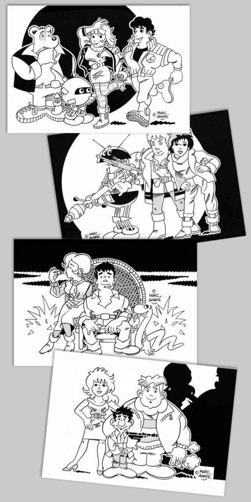 Cartes postales quelques héros extraordinaires 1987 Marc-André BD Illustration Graphisme Limoges
