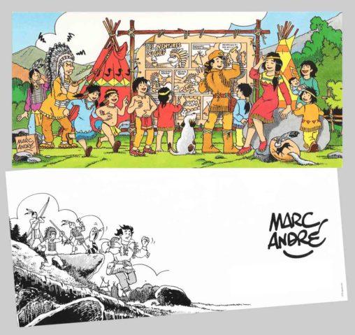 Carte vœux 1996 Marc-André BD Illustration Graphisme Limoges Indiens Trappeur Les aventures du chef