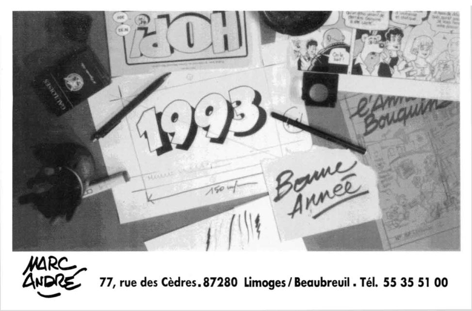 Table de travail et vœux - La carte de vœux pour l'année 1993 - Marc-André BD Illustration Graphisme Limoges